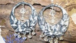 Круглые серьги под серебро с бусинами, холодный фарфор