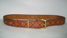 009 M RU35  Кожаный ремень рыжий, с ручной прошивкой, шириной 35 мм