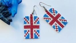 Серьги из бисера ′Британский флаг′