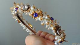 Ободок для волос с кристаллами Сваровски - Белые ночи