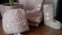 Детский вязаный комплект (шапка, шарф, носки), ручная работа (образец)