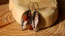Сережки с янтарем ′CopperLeaf′