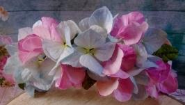 Ободок «Нежность» с цветами гортензии