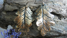Серьги с листьями ′под бронзу′, холодный фарфор