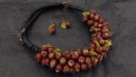 Красивый комплект ягодок шипшины сережкиколье