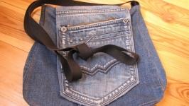 Джинсовая сумка через плечо ручной работы
