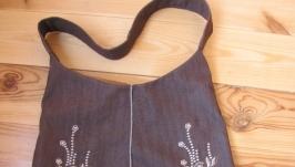 Сумка ручной работы с плотной ткани