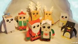 Новогодние поделки-игрушки Снеговик, Олень, Дед мороз, Пингвин, Мишка