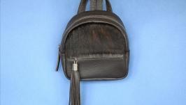 Жіночий рюкзак зі шкіри та хутра, женский рюкзак из кожи и меха