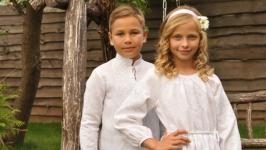 Комплект детских вышиванок белым по белому ДМ011-211 и ДП10-211