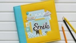 Скрапбук для мальчика, яркий детский фотоальбом, альбом для новорожденного