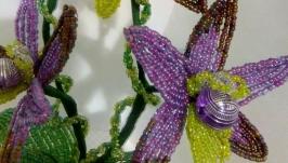 Орхидея из бисера ′Фиолетовая вуаль
