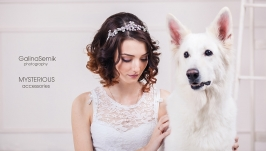 Свадебная корона с фурнитурой серебро