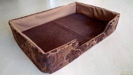 Лежак кровать лежанка для собак XL из мебельной ткани премиум класс