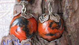 Серьги с черно-красными бусинами, запекаемая полимерная глина