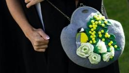 Валяний комплект сумка і брошка ′Синичка′