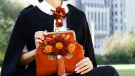 Валяний комплект сумка і брошка ′ Вінтаж′