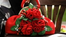 Комплект валяний сумка і брошка ′Red′