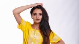 Вышитое женское платье «Родючість желтая»