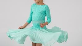 Рейтинговое платье (Бейсик) для бальных танцев ′Mint Cloud′