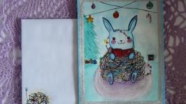 Авторская открытка с зайкой