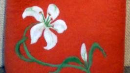валяная сумка Белая лилия