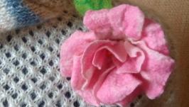 валяная брошь Розовый пион