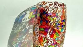 Скляна розписана ваза