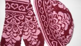 Жаккардовая шапочка и рукавицы