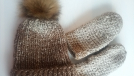 Комплект (шапка с помпоном и варежки)