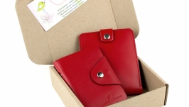 Набор №3 (красный): портмоне П1, картхолдер