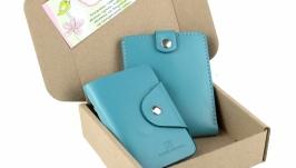 Набор №3 (голубой): портмоне П1, картхолдер