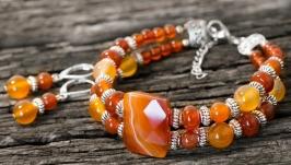 Комплект з натурального сердоліку браслет та срібні сережки