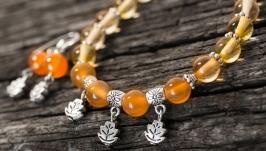 Комплект ′Листопад′ сердолік і срібні сережки