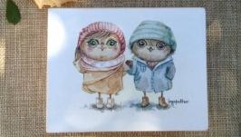 Шкатулка ′Совы зимние′