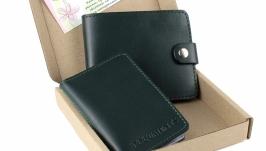Набор №16 (зеленый): портмоне  мини-обложка на документы