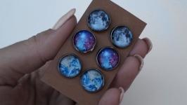 3 пары, Космические серьги-гвоздики, планеты, галактики, космос, созвездия