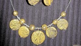 Комплект с золотыми волнами, холодный фарфор