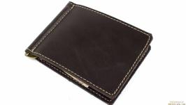 Кожаный зажим для денег Crez-4 (коричневый)
