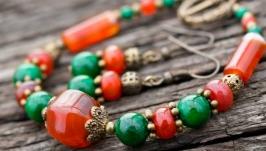 Комплект з натуральних сердоліків та малахіту браслет сережки