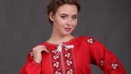 Женская вышиванка ′Розочка Комсомольск′ красный лен