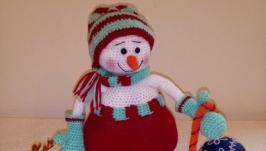 Снеговичок вязанная игрушка