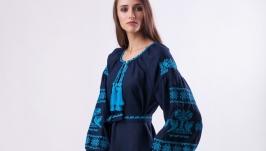 Платье ′Очаровательная Птица′ из темно-синего льна с бирюзовой вышивкой