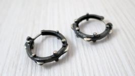Сережки Біоніка чорні срібло