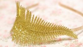 Обруч ободок с золотой веточкой