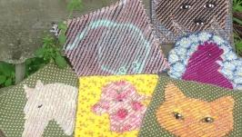 Термо сидушки коврики с мордами животных в технике синель