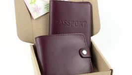 Набор №1 (бордовый): обложка на паспорт, портмоне П1