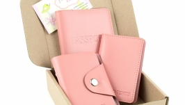 Набор №2 (розовый): обложка на паспорт, обложка на права, картхолдер