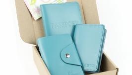 Набор №2 (голубой): обложка на паспорт, обложка на права, картхолдер