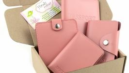 Набор №7 (розовый): обложка на паспорт, права, картхолдер, портмоне